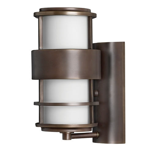Hinkley Lighting Outdoor Wall Light with White Glass in Metro Bronze Finish 1900MT-GU24