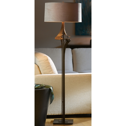 Hubbardton Forge Lighting Hubbardton Forge Lighting Antasia Bronze Floor Lamp with Drum Shade 232810-05-500