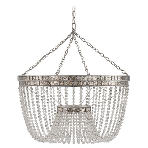 Currey and Company Lighting Currey and Company Highbrow Silver Leaf / Distressed Silver Leaf Pendant Light 9685