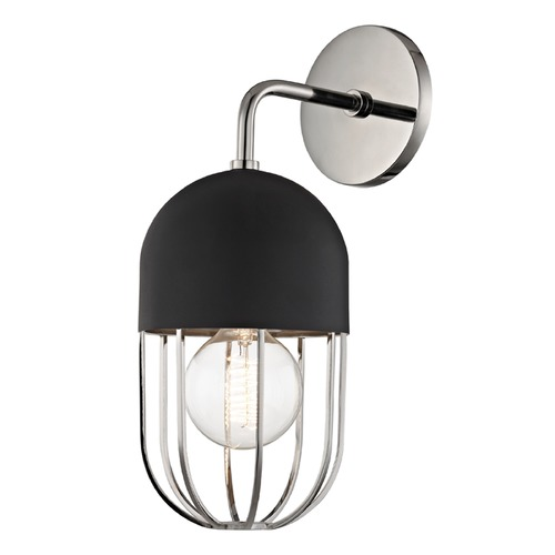 Mitzi by Hudson Valley Mid-Century Modern Sconce Polished Nickel Mitzi Haley by Hudson Valley H145101-PN/BK