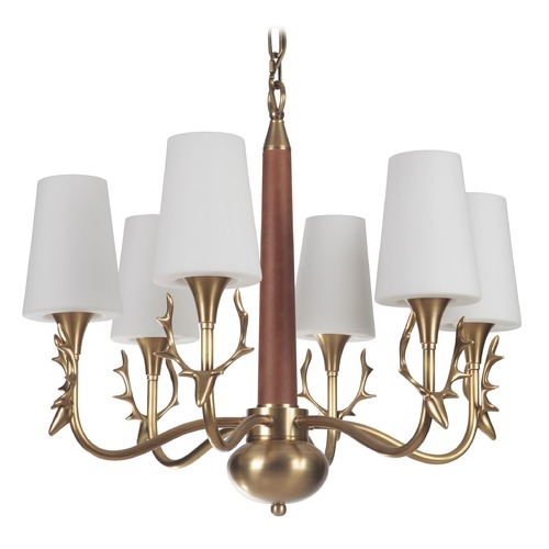 Craftmade Lighting Craftmade Vintage Brass 6-Light Chandelier with White Acid Etched Shades 48226-VB