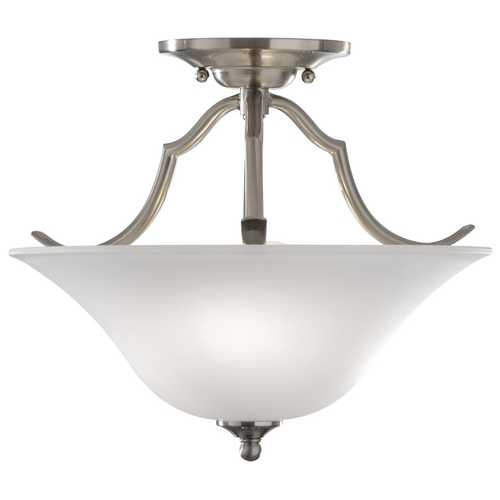 Feiss Lighting Semi-Flushmount Light with White Glass in Brushed Steel Finish SF294BS