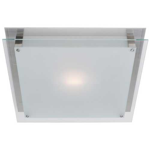Access Lighting Modern Flushmount Light with White Glass in Brushed Steel Finish 50033-BS/FST