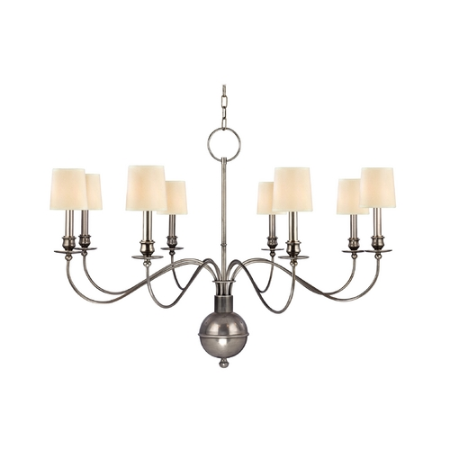 Hudson Valley Lighting Chandelier with Beige / Cream Shades in Aged Silver Finish 8218-AS-WS