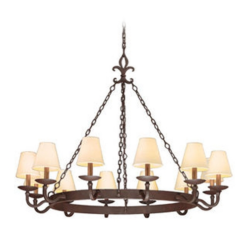 Troy Lighting Chandelier with Beige / Cream Shades in Burnt Sienna Finish F2716