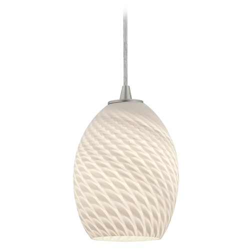 Access Lighting Modern Mini-Pendant Light with White Glass 28023-1C-BS/WHTFB