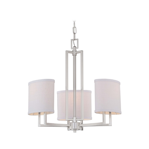Nuvo Lighting Modern Mini-Chandelier with Grey Shades in Brushed Nickel Finish 60/4757