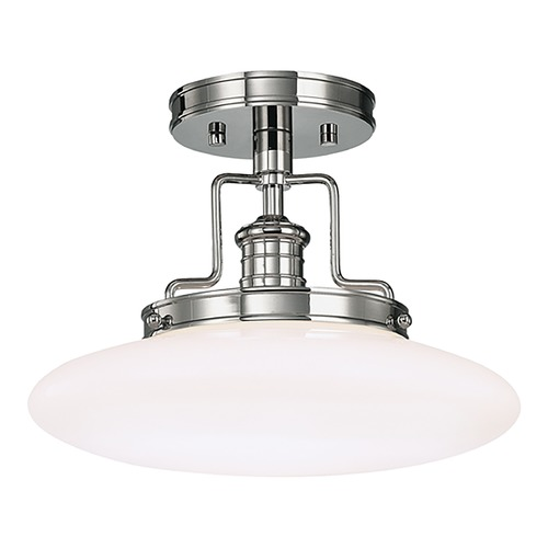 Hudson Valley Lighting Modern Semi-Flushmount Light with White Glass in Polished Nickel Finish 4202-PN