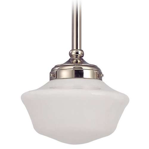 Design Classics Lighting 8-Inch Schoolhouse Mini-Pendant Light Polished Nickel FA4-15 / GA8