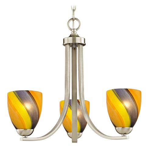 Design Classics Lighting Design Classics Dalton Fuse Satin Nickel Mini-Chandelier 5843-09 GL1015MB