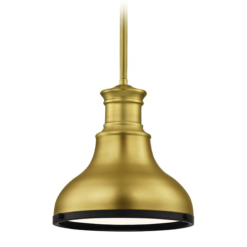 Design Classics Lighting Farmhouse Brass Small Pendant Light with Black Accents 8.63-Inch Wide 1761-12 SH1778-12 R1778-07