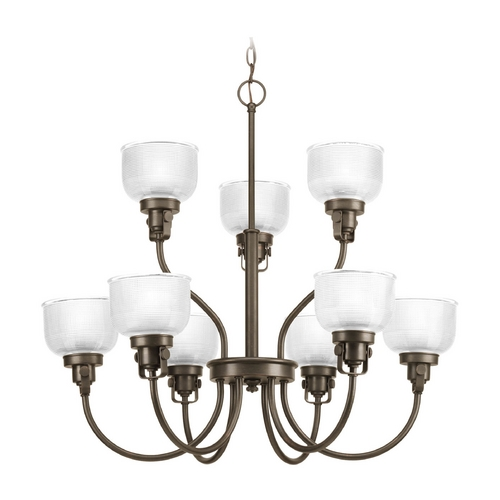 Progress Lighting Chandelier with Clear Glass in Venetian Bronze Finish P4690-74