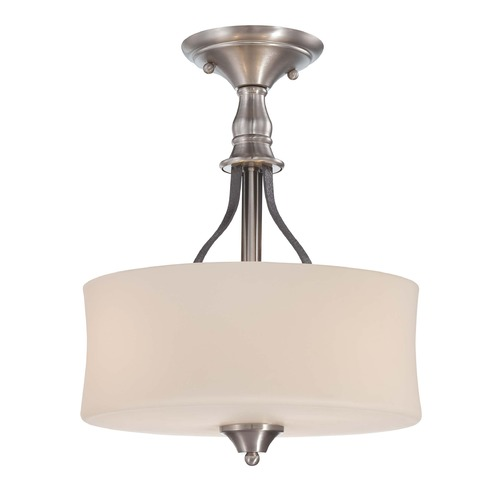 Jeremiah Lighting Jeremiah Preston Hollow Hammered Iron, Brushed Nickel Semi-Flushmount Light 28153-HIBNK