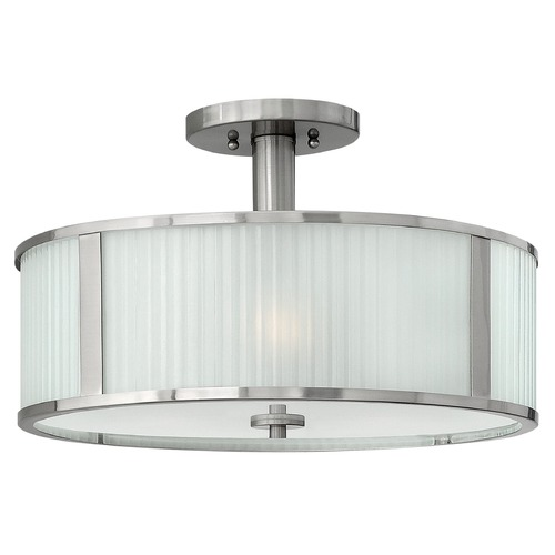 Hinkley Lighting Semi-Flushmount Light with White Glass in Brushed Nickel Finish 4971BN