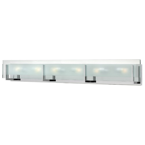 Hinkley Hinkley Latitude 6-Light Chrome Bathroom Light with Etched Clear Glass 5656CM