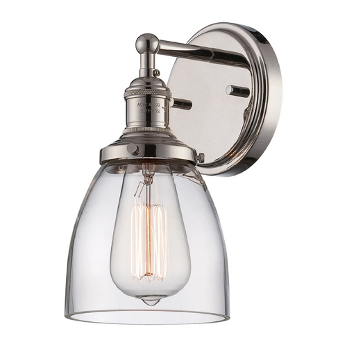 Nuvo Lighting Sconce Wall Light with Clear Glass in Polished Nickel Finish 60/5414