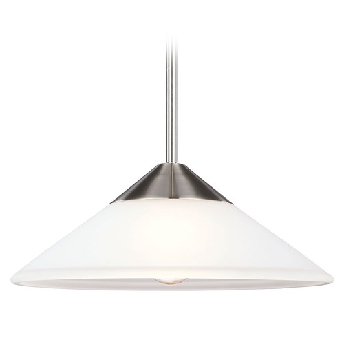 Sea Gull Lighting Sea Gull Lighting Ashburne Brushed Nickel Pendant Light with Coolie Shade 6511201BLE-962
