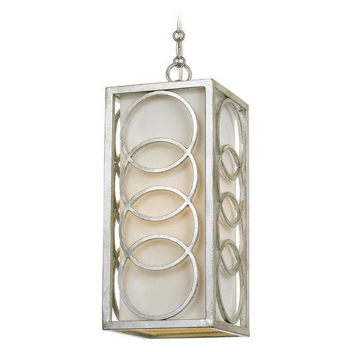 Crystorama Lighting Crystorama Lighting Graham Antique Silver Mini-Pendant Light with Rectangle Shade 280-SA