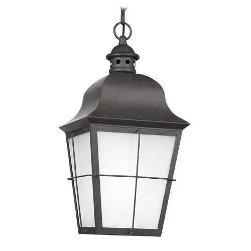 Sea Gull Lighting Frosted Seeded Glass Outdoor Hanging Light Bronze Sea Gull Lighting 69272-46