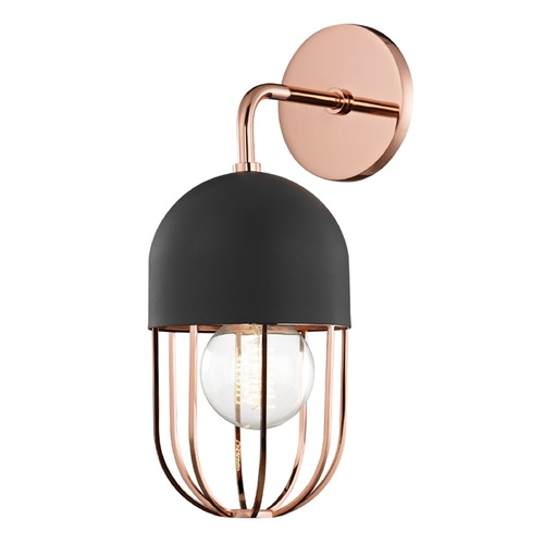Mitzi by Hudson Valley Mid-Century Modern Sconce Copper Mitzi Haley by Hudson Valley H145101-POC/BK
