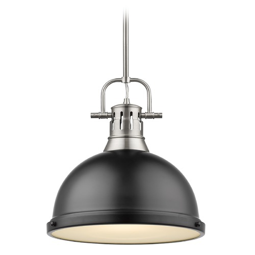 Golden Lighting Golden Lighting Duncan Pewter Pendant Light with Matte Black Shade 3604-LPW-BLK