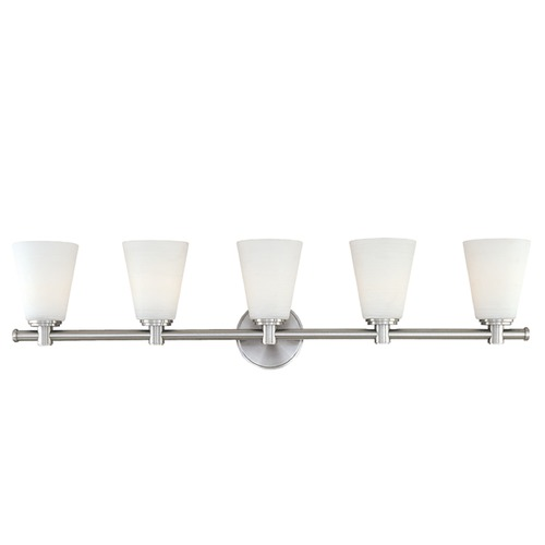 Hudson Valley Lighting Modern Bathroom Light with White Glass in Polished Nickel Finish 1845-PN