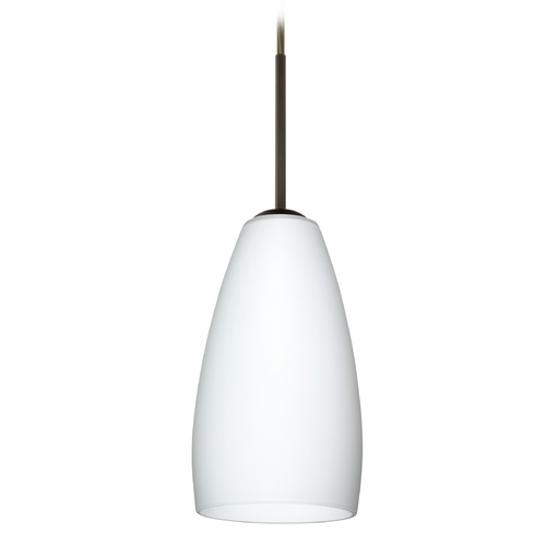 Besa Lighting Besa Lighting Chrissy Bronze Mini-Pendant Light with Conical Shade 1BT-150907-BR