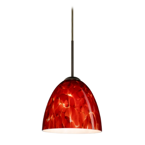 Besa Lighting Modern Pendant Light with Red Glass in Bronze Finish 1JT-447041-BR