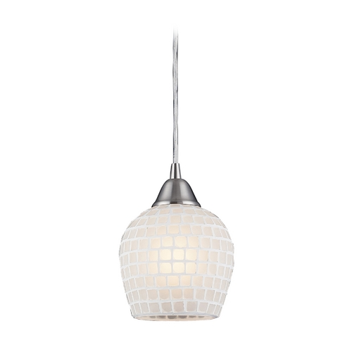 Elk Lighting Modern Mini-Pendant Light with White Glass 528-1WHT