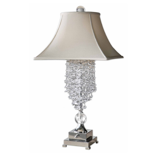 Uttermost Lighting Modern Table Lamp with White Shades in Silver Plated Finish 26894