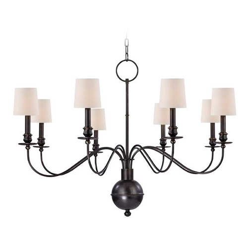 Hudson Valley Lighting Chandelier with White Paper Shades in Old Bronze Finish 8218-OB