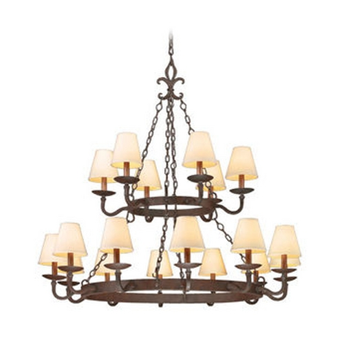 Troy Lighting Chandelier with Beige / Cream Shades in Burnt Sienna Finish F2717