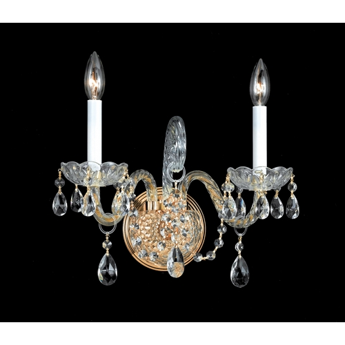 Crystorama Lighting Crystal Sconce Wall Light in Polished Brass Finish 1102-PB-CL-S