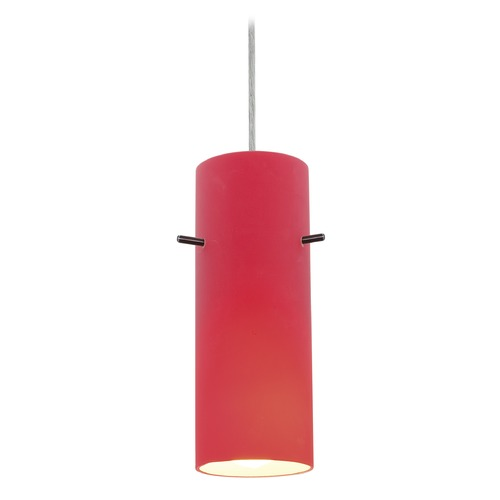 Access Lighting Access Lighting Sydney Cylinder Brushed Steel Mini-Pendant with Cylindrical Shade 28030-1C-BS/RED