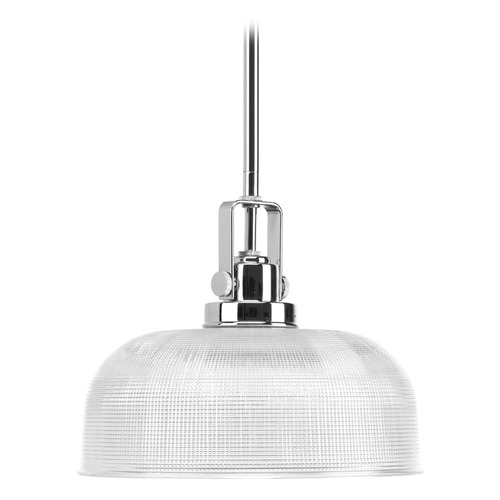Progress Lighting Progress Chrome Pendant Light with Clear Prismatic Glass P5026-15