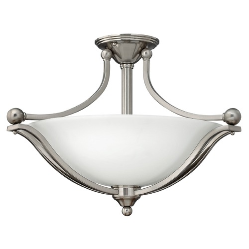 Hinkley Lighting Semi-Flushmount Light with White Glass in Brushed Nickel Finish 4669BN