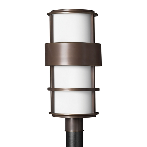 Hinkley Lighting Post Light with White Glass in Metro Bronze Finish 1901MT-GU24