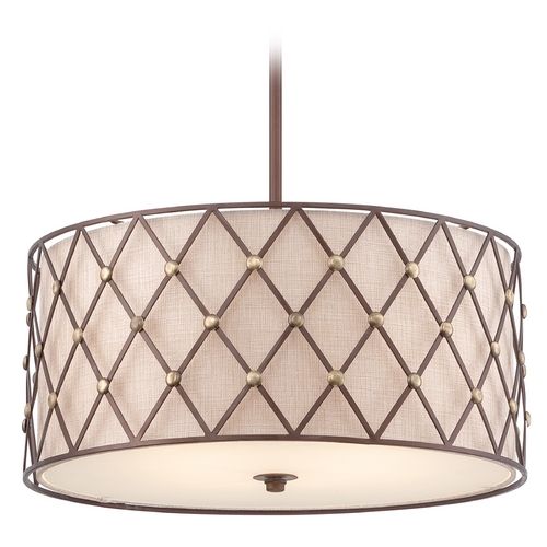 Quoizel Lighting Quoizel Brown Lattice Copper Canyon Pendant Light with Drum Shade BWL2822CC