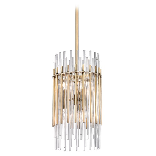 Hudson Valley Lighting Hudson Valley Lighting Wallis Aged Brass Pendant Light with Cylindrical Shade 6310-AGB