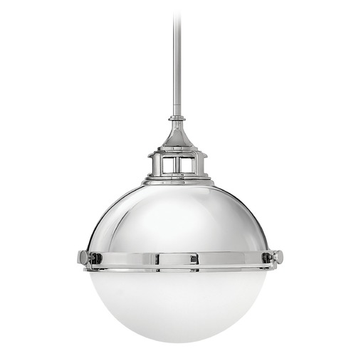 Hinkley Lighting Hinkley Lighting Fletcher Polished Nickel Pendant Light with Bowl / Dome Shade 4834PN