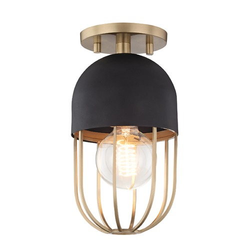 Hudson Valley Lighting Mid-Century Modern Semi-Flushmount Light Brass Mitzi Haley by Hudson Valley H145601-AGB/BK
