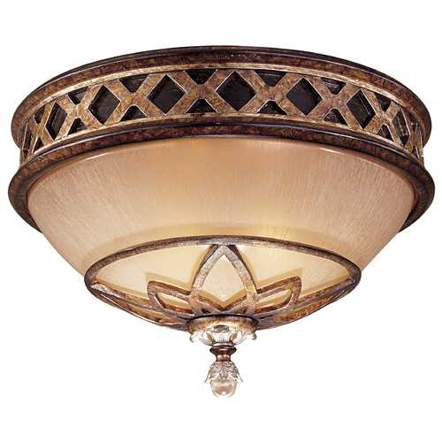 Minka Lavery Flushmount Light with Beige / Cream Glass in Aston Court Bronze Finish 1755-206