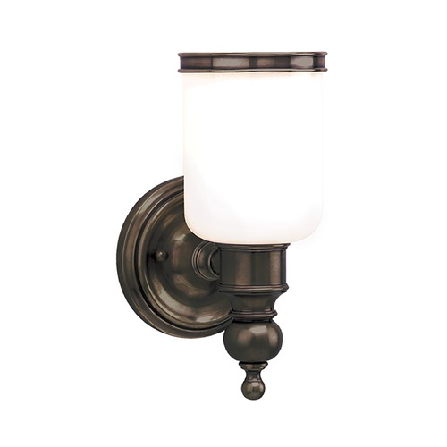 Hudson Valley Lighting Sconce with White Glass in Distressed Bronze Finish 6301-DB