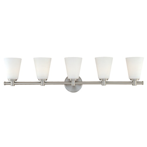 Hudson Valley Lighting Modern Bathroom Light with White Glass in Satin Nickel Finish 1845-SN