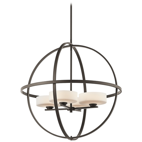 Kichler Lighting Kichler Modern Pendant Light with White Glass in Olde Bronze Finish 42506OZ