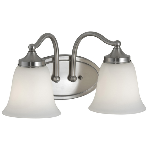 Feiss Lighting Bathroom Light with White Glass in Brushed Steel Finish VS18502-BS