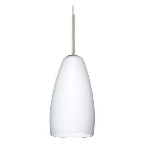 Besa Lighting Besa Lighting Chrissy Satin Nickel Mini-Pendant Light with Oblong Shade 1BT-150907-SN