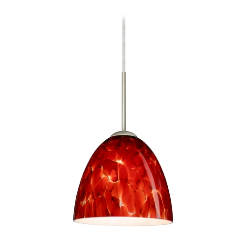 Besa Lighting Modern Pendant Light with Red Glass in Satin Nickel Finish 1JT-447041-SN