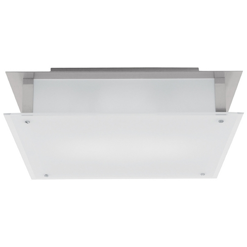 Access Lighting Modern Flushmount Light with White Glass in Brushed Steel Finish 50035-BS/FST