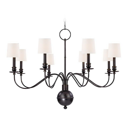 Hudson Valley Lighting Chandelier with Beige / Cream Shades in Old Bronze Finish 8218-OB-WS